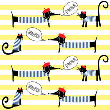 French Style Cats And Dogs Saying Bonjour Seamless Pattern On Striped Background. Cute Cartoon Parisian Animals Vector Illustration. French Style Dressed Dog And Cat With Red Beret And Striped Frock.
