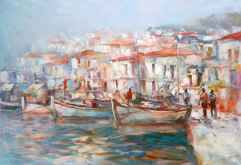 Fototapeta Boats on the island harbor,handmade painting