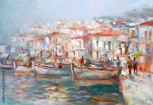 Boats on the island harbor,handmade painting - 108154384