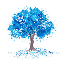 Blue Tree In Abstraction Style With Splashes