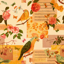 Vintage Style Seamless Background Pattern With Watercolor Birds, Flowers And Butterflies