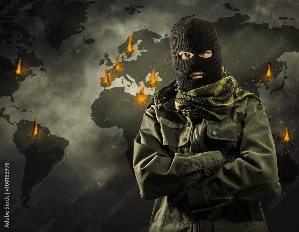 Fototapeta Portrait of man in mask standing against map