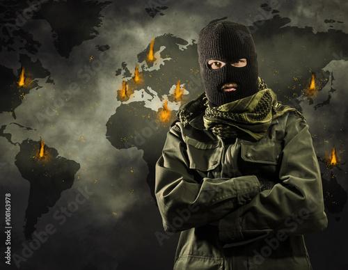 Fotografía  Global explosiones de terrorismo en todo el mundo en el mapa