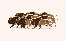 Group Of Buffalo Running Designed Using Grunge Brush Graphic Vector