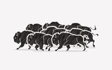 Group Of Buffalo Running Desig...