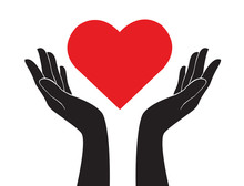 Hands Holding Heart Of Love Sign