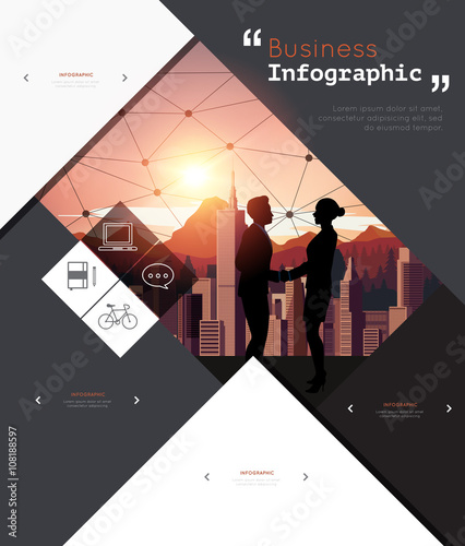 Photo  Modern infographic for business project with silhouette people.