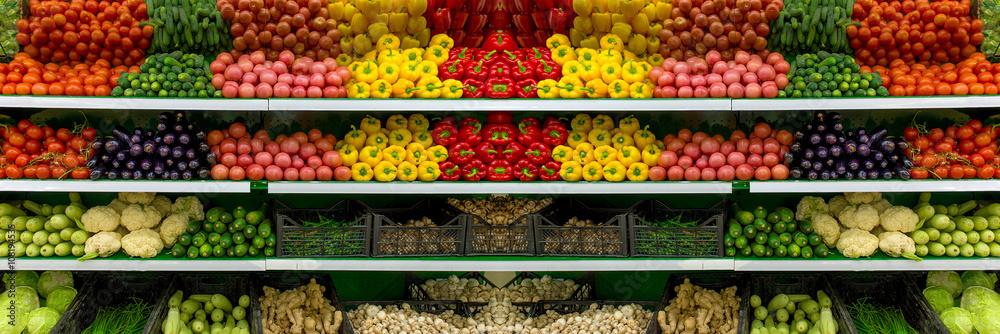 Vegetables on shelf in supermarket