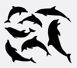 FototapetaDolphin fish animal silhouette. Good use for symbol, logo, mascot, web icon, sticker design, sign, or any design you want. Easy to use.