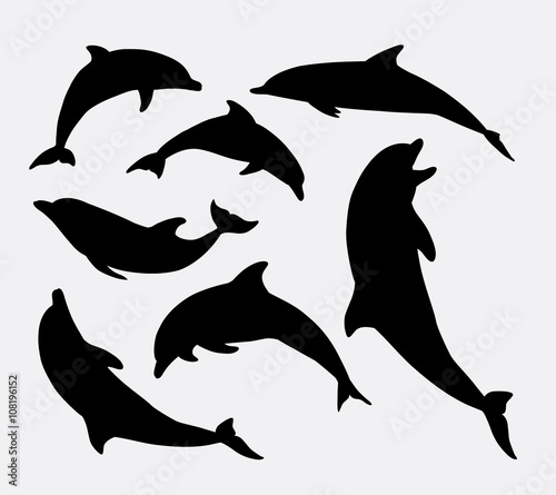 Dolphin fish animal silhouette Wallpaper Mural