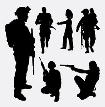 Soldier, Military, Security, Male And Female Silhouette. Good Use For Symbol, Logo, Web Icon, Mascot, Game Element, Sticker Design, Sign, Or Any Design You Want. Easy To Use.