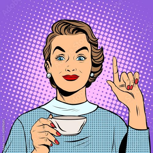Plakat Dziewczyna z filiżanką herbaty lub kawy