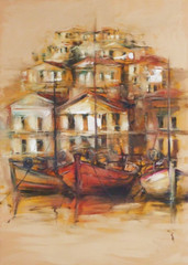 FototapetaBoats on the island harbor,handmade painting