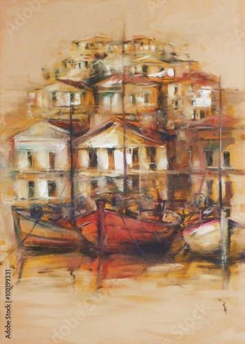 Boats on the island harbor,handmade painting - 108199331