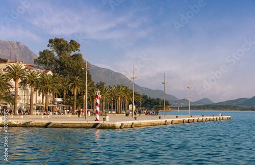 In de dag Embankment of Tivat city before sunset. Montenegro