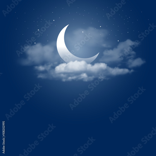 Fotografie, Tablou Mystical Night sky background with half moon, clouds and stars