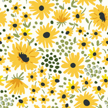 Yellow Flowers On The White Background. Vector Seamless Pattern With Sunflowers. Ditsy Floral Illustration.