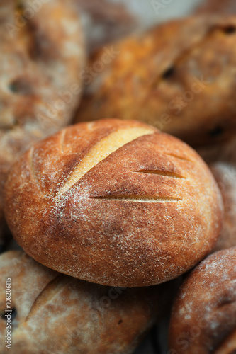Loaves Of Home Baked Leavened Bread Made Of Wheat And