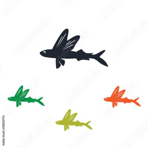 Obraz na plátně Flying fish icon