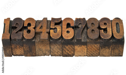 numbers in antique letterpress type - Buy this stock photo