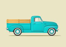 Classic Pickup Truck. Flat Sty...