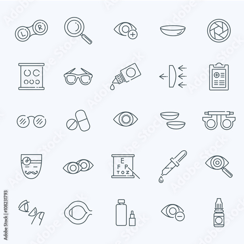 Fotografía  Oculist optometry vision correction eyes health line icons set