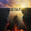 canvas print picture - Jesus bridge over fire