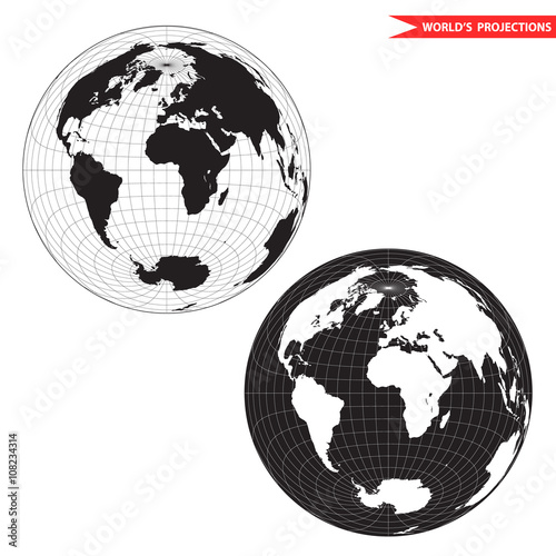 Lambert azimuthal equal-area world map projection. Black and white ...