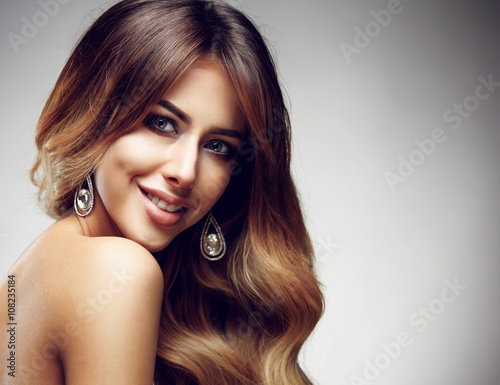 Vászonkép  Beautiful blonde woman with long, healthy , straight and shiny hair