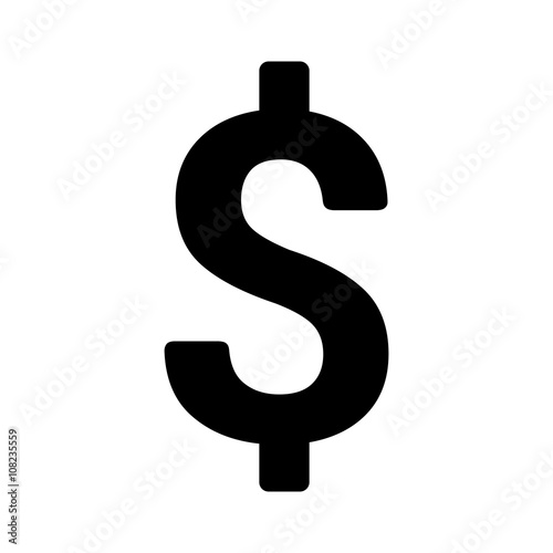 Fototapeta American dollar currency or dollar symbol flat icon for apps and websites obraz