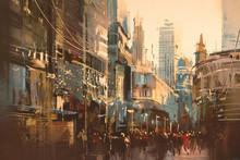 Illustration Painting Of City Street,vintage Style