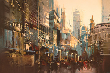 FototapetaIllustration painting of city street,vintage style