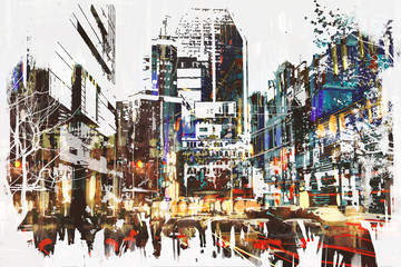 Plakat people walking in city with abstract grunge painting,illustration art
