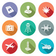 Border crossing Icons Set. Vector Illustration.