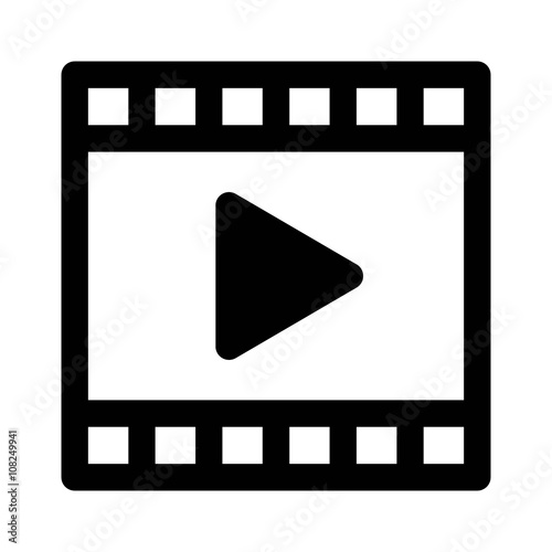 Fotografie, Tablou  Video or movie clip play line art icon for apps and websites