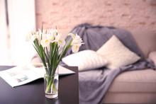 Fresh Iris Flowers On Wooden Table Indoors