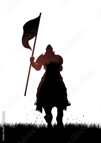 Plakat Średniowieczny rycerz na koniu niesie flaga