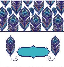 Floral Paisley Pattern With Peacock Feathers