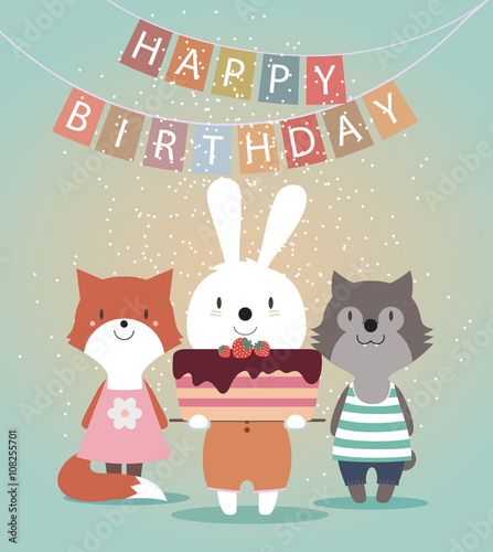 Cute Happy Birthday Card With Funny Animals Hare Wolf Fox And Cake