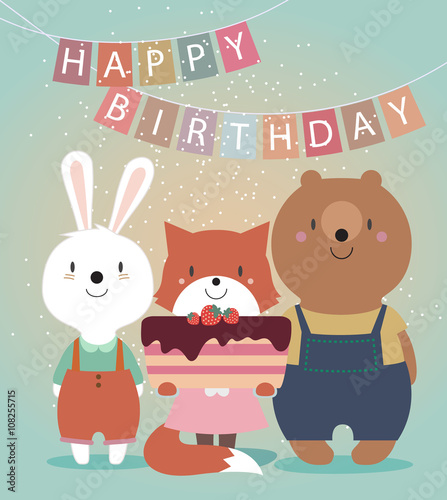 Cute Happy Birthday Card With Funny Animals Bear Hare Fox And Cake