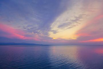 Beautiful purple sea sunset.