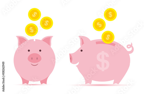 Fotografie, Obraz  Pink piggy bank with falling golden coins in two perspectives.
