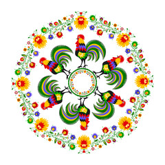 Panel Szklany Podświetlane Folklor Polski folklor - okrągły wzór z kogutami i kwiatami
