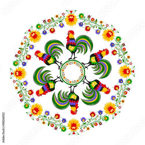 Polski folklor - okrągły wzór z kogutami i kwiatami - 108266922