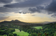 View Of Scottish Borders, Overlooking The Valley Of The River Tweed