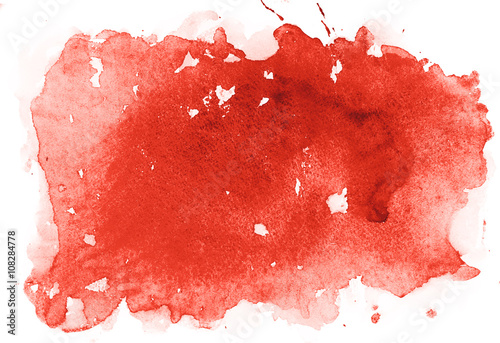 Fotografie, Tablou  Abstract watercolor aquarelle hand drawn colorful shapes art red color paint or