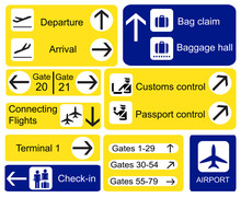 Airport Signs. EPS10 Vector Fo...