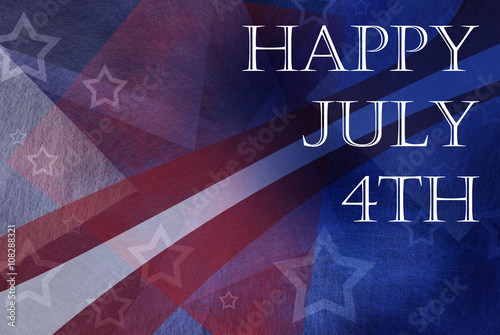 Poster  Happy July 4th background design with stripes and stars in red white and blue co