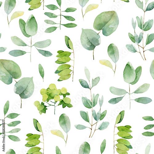 Cotton fabric Seamless herbal pattern