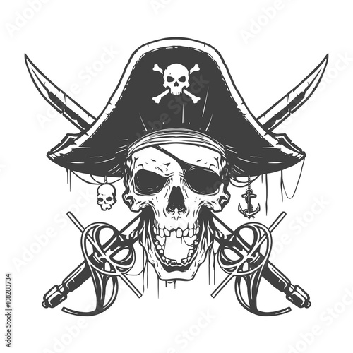 Valokuva  Skull pirate illustration